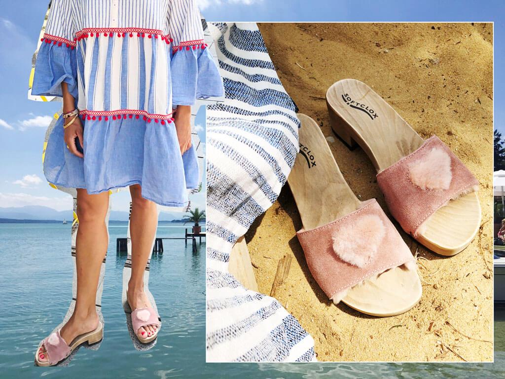 Sommerlook mit Schlappen von Softclox