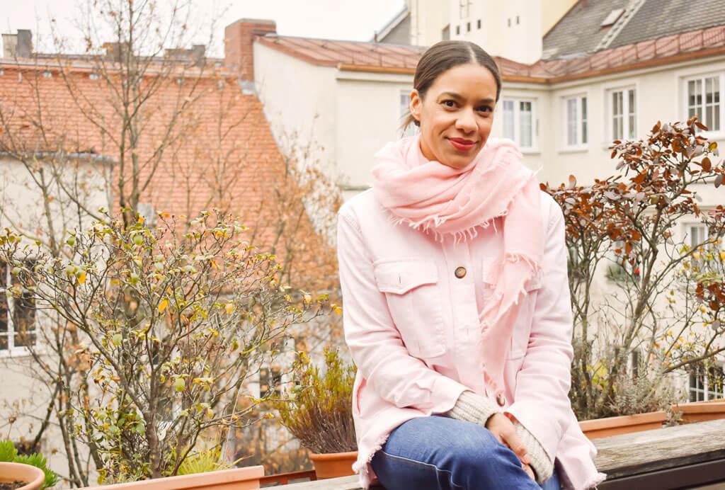 cute stuff rosa Kaschmir Schal binden